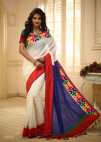 Saree - Off White & Blue Chanderi Combination With Lace Border
