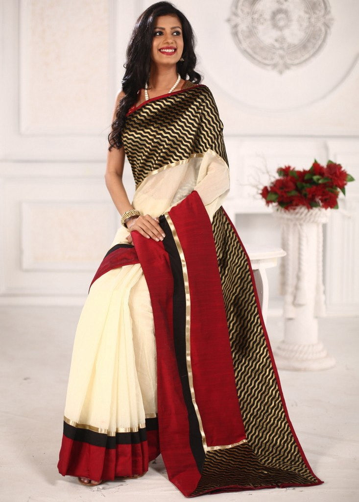 Saree - Off White Chanderi Saree With Brocade Border And Cotton Silk Pallu