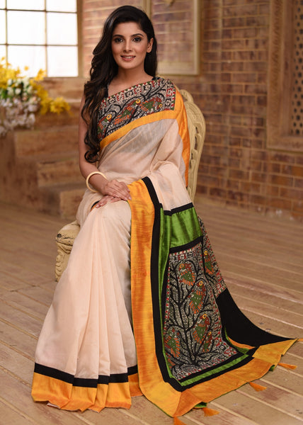 Saree - Off White Chanderi Saree With Hand Painted Madhubani Patch On Pallu & Border