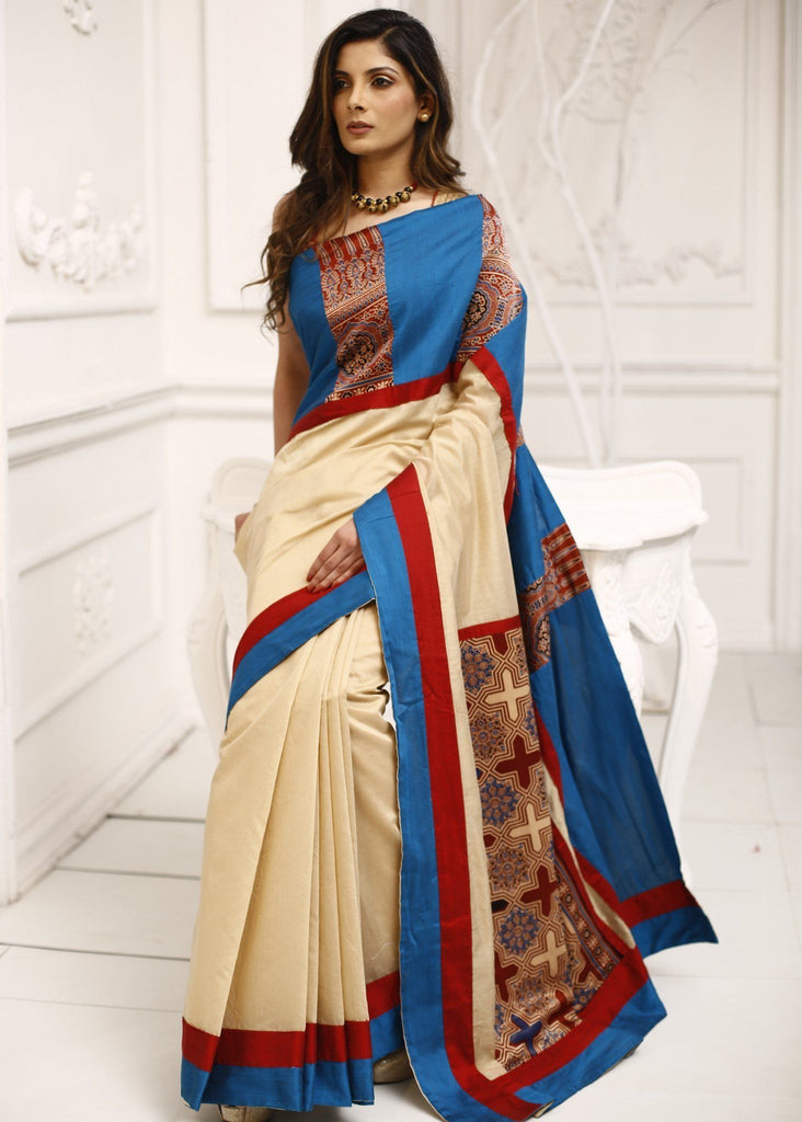 Saree - Off White Chanderi With Block Printed Ajrakh On Pure Silk Pallu