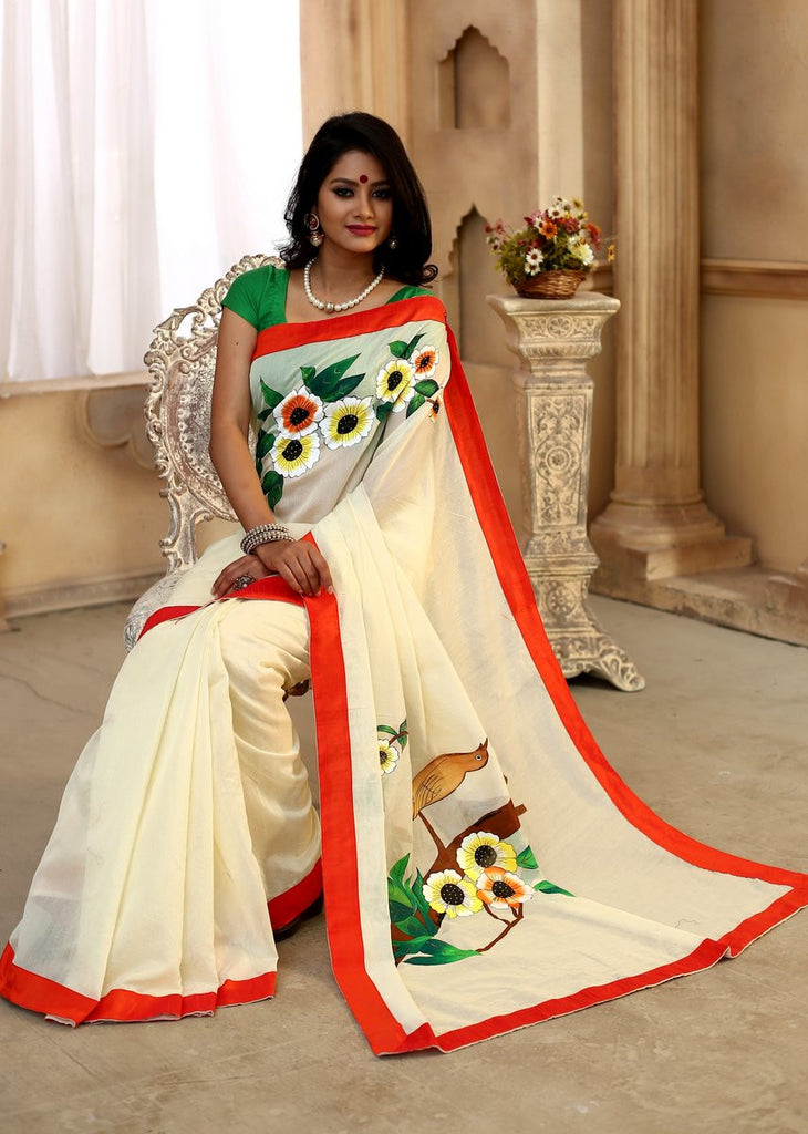 Saree - Off White Chanderi With Hand Painted Motifs