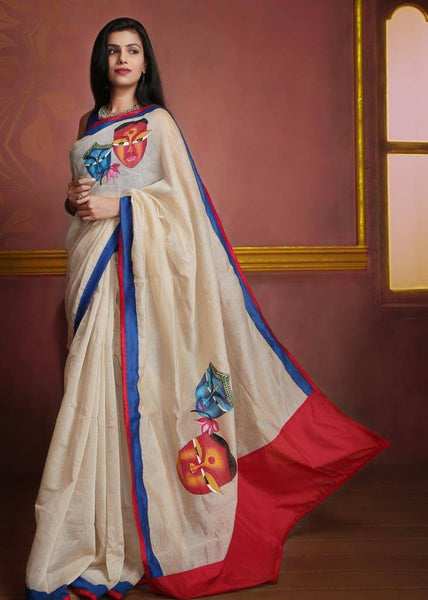 Saree - Off White Chanderi With Hand Painting