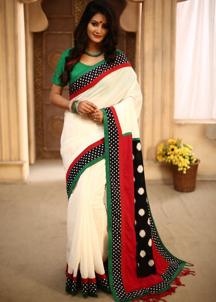Saree - Off White Chanderi With Ikat Pallu & Polka Dotted Border