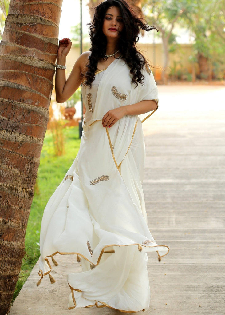 Saree - Off White Crepe Shiffon Saree With Zardosi Work And Zari Border
