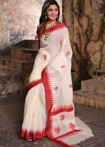 Saree - Off White Pure Handloom Cotton Temple Border Saree