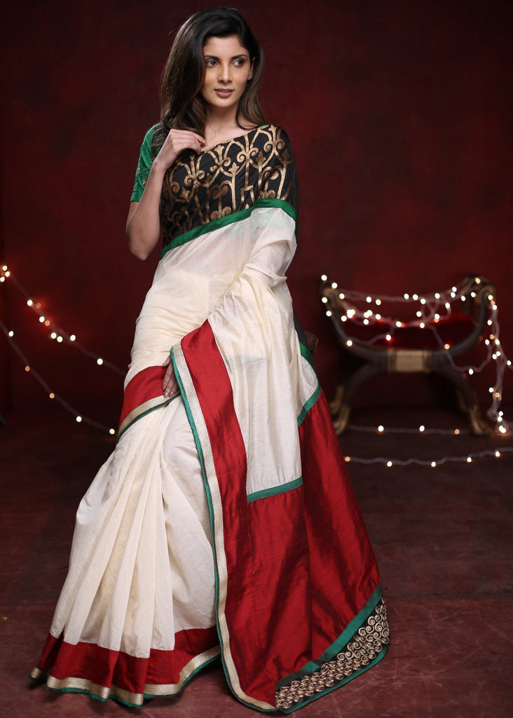 Saree - Offwhite Chanderi Saree With Exclusive Benarasi Work In Front With Red Cotton Silk Pallu & Zari Patch