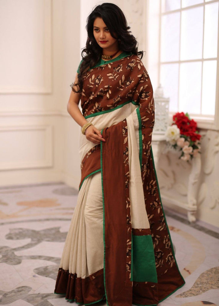 Saree - Offwhite Chanderi With Exclusive Printed Silk Border
