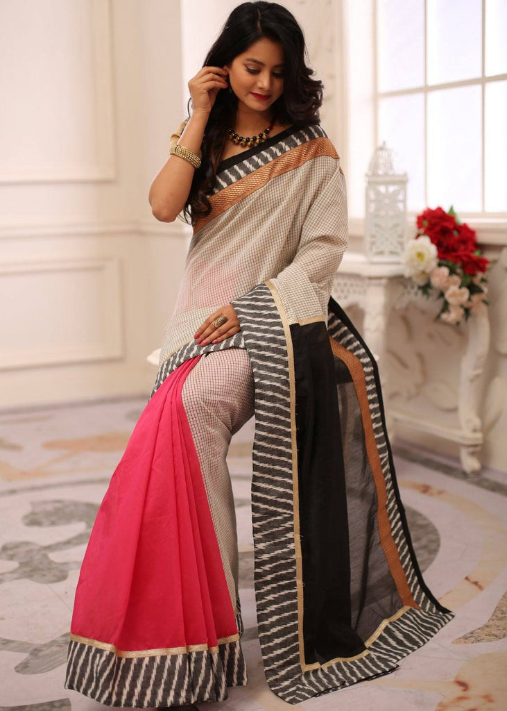 Saree - Offwhite Checks Chanderi & Pink Chanderi Combination With Ikat & Zari Border Saree
