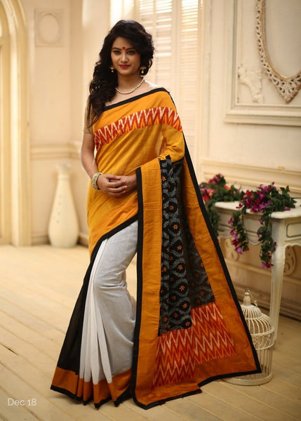 Saree - Orange Cotton Silk With Kantha Pallu & Ikat Border