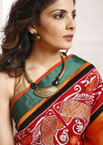 Saree - Orange & Off White Chanderi Saree Combination With Hand Painted Patch In Front