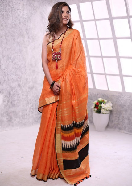 Saree - Orange Pure Linen Saree With Zari Border & Ikat Patch On Pallu