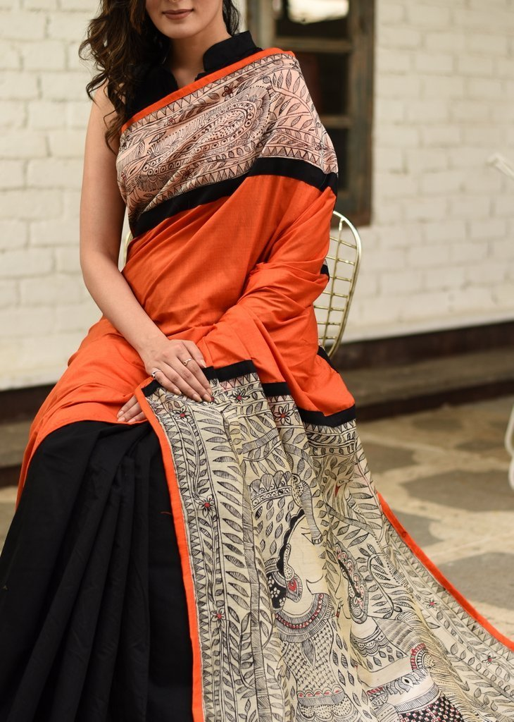 Saree - Orange Semi Silk With Exclusive Hand Painted Madhubani Work On Pallu & Border With Chanderi Pleats