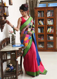 Patch work cotton with pink chanderi pleats & blue slub silk pallu - Sujatra