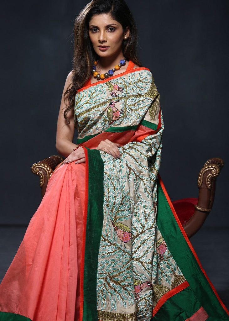 Saree - Peach Chanderi Saree With Hand Painted Gond Tribal Art Wotk On Pallu And Front
