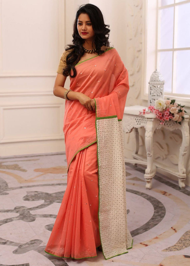 Saree - Peach Chanderi Saree With Mirror Work All Over With Artistic Pallu