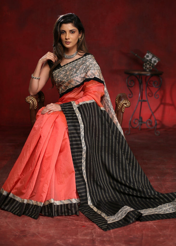 Peach chanderi saree with silk Jamdani border & striped cotton silk pallu - Sujatra