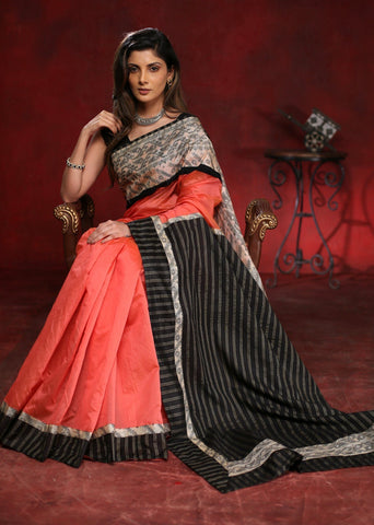 Peach chanderi saree with silk Jamdani border & striped cotton silk pallu
