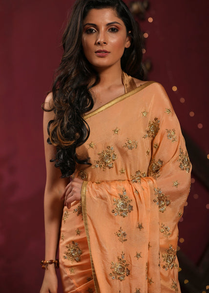 Saree - Peach Embroidered Chiffon Saree