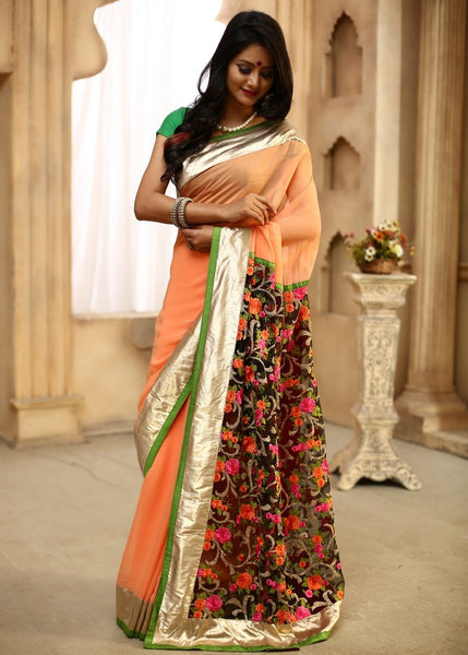 Saree - Peach Georgette With Embroidered Work Pallu & Golden Zari Pallu