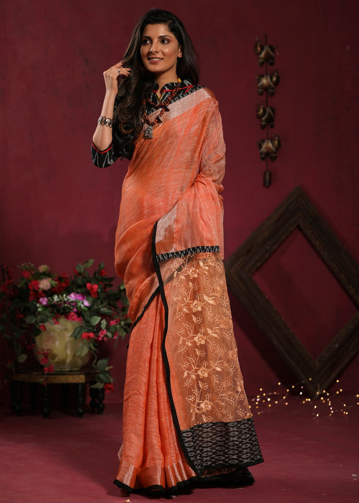 Saree - Peach Pure Linen Saree With Lace Pallu