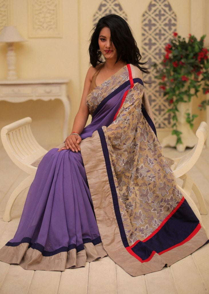 Saree - Pearl Embroidered Georgette Anchal With Purple Georgette Combination