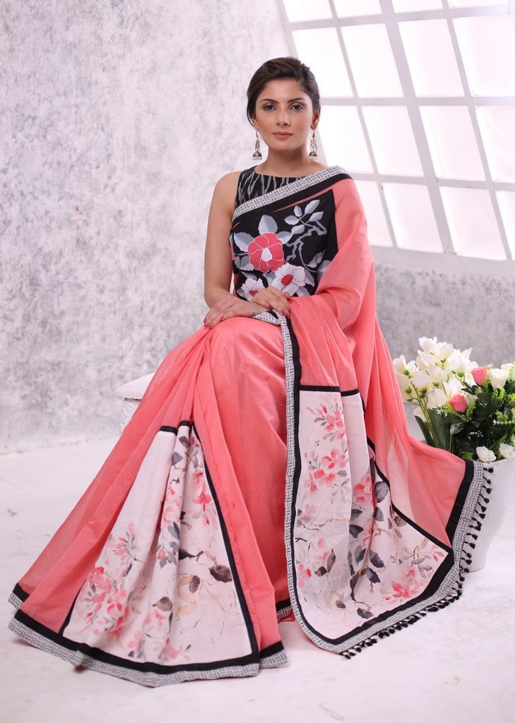 Saree - Pink Chanderi Saree Hand Painting & Printed Patch On Pleats & Pallu