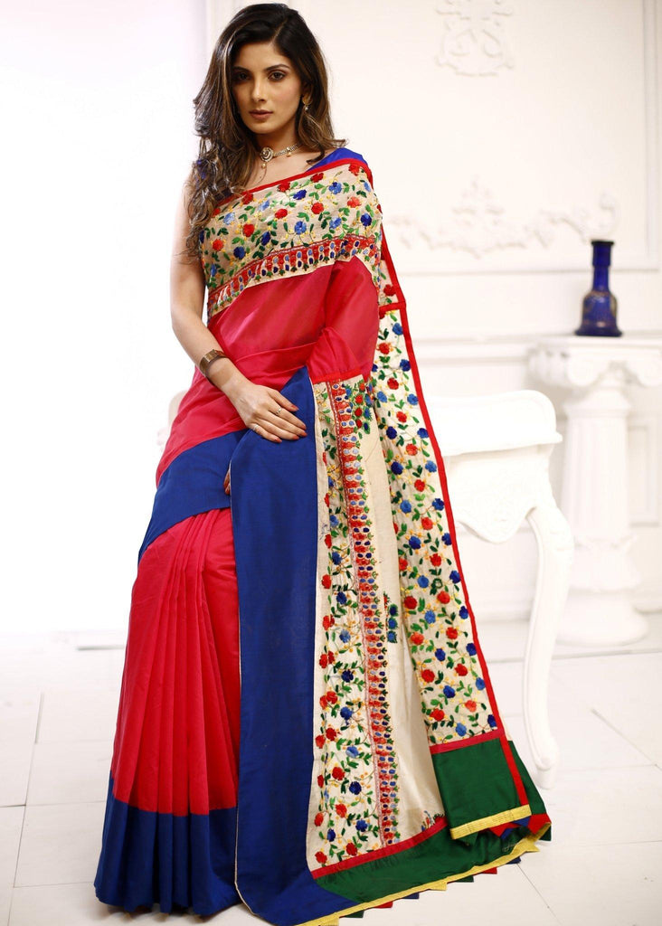 Saree - Pink Chanderi Saree With Embroidered Border And Pallu