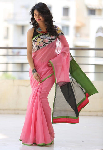 Pink Chanderi saree with hand batik work in front