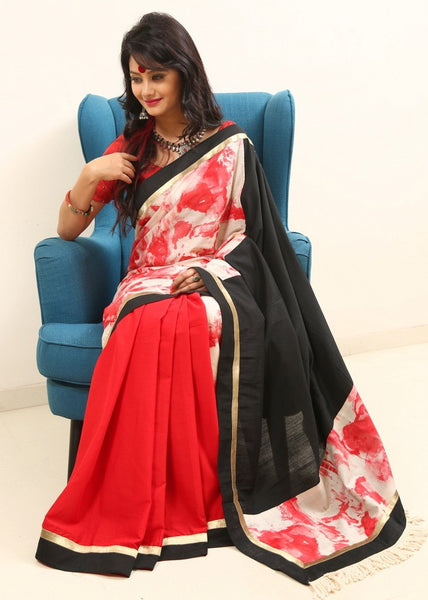 Saree - Pink Chanderi With Abstract Print Cotton With Black Chanderi Pallu