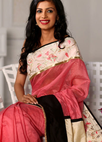 Pink chanderi with beautiful embroidered floral border saree