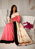 Saree - Pink Chanderi With Beautiful Embroidered Floral Border Saree