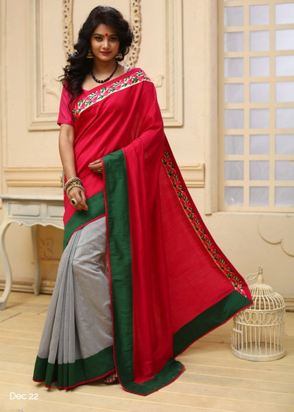 Saree - Pink Cotton Silk & Grey Chanderi With Lace Border