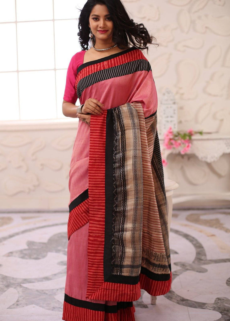 Pink Cotton silk saree with artistic pure ghicha silk pallu - Sujatra