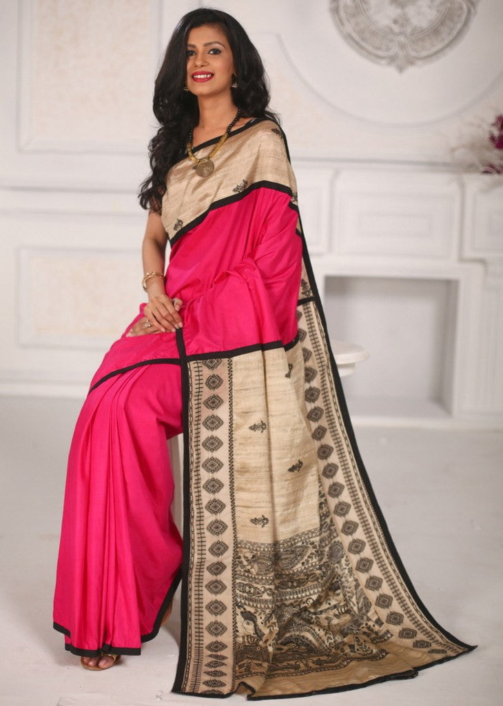 Saree - Pink Cotton Silk Saree With Pure Ghicha Silk Pallu With Madhubani Work