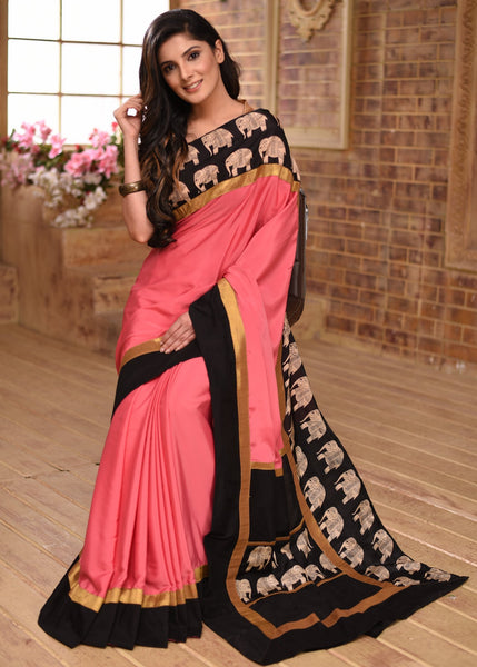 Saree - Pink French Crepe Saree With Exclusive Printed Border