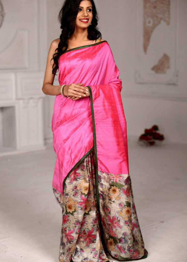 Saree - Pink Pure Raw Silk Saree With Printed Floral Motifs On Pleats And Pallu