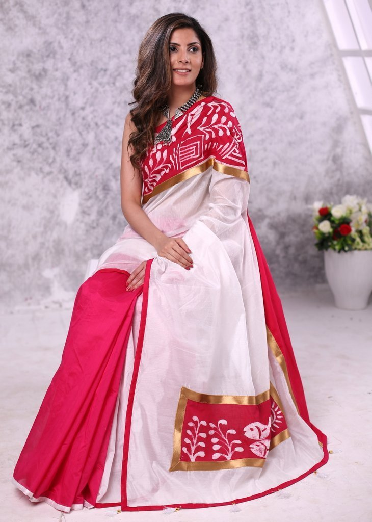 Saree - Pink & White Chanderi Combination With Hand Batik Border In Front & Pallu