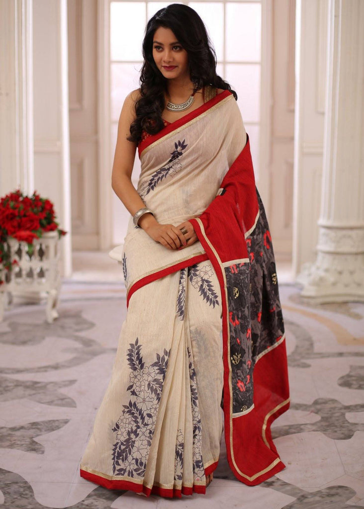 Saree - Printed Chanderi Saree With Abstract Printed Cotton Pallu