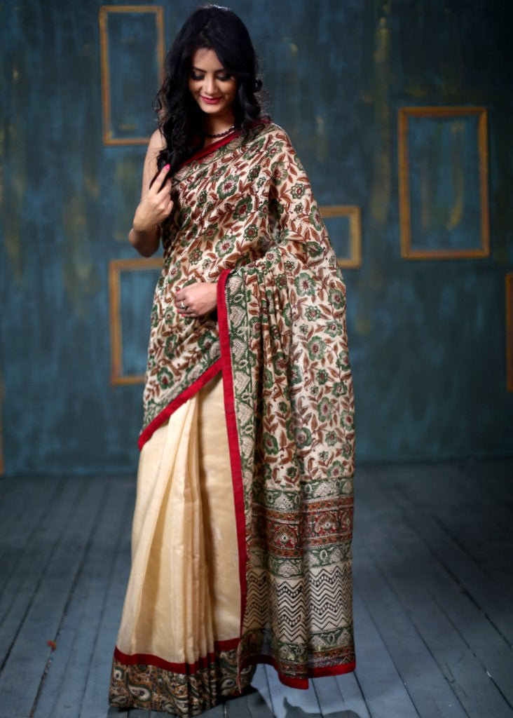 Saree - Printed Chanderi Saree With Beige Pleats