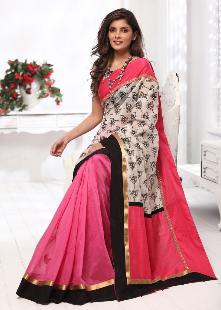 Saree - Printed Chanderi With Pink Chanderi Combination  Saree With Pink Border