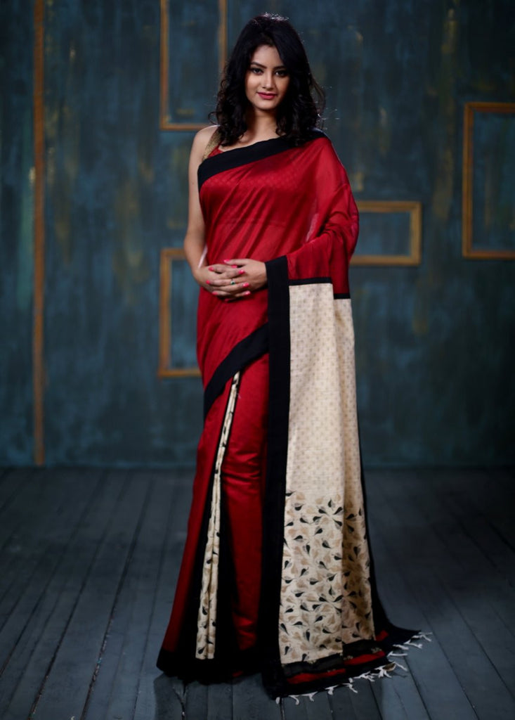 Saree - Printed Cotton Jute Pallu With Red Cotton Silk Base Saree