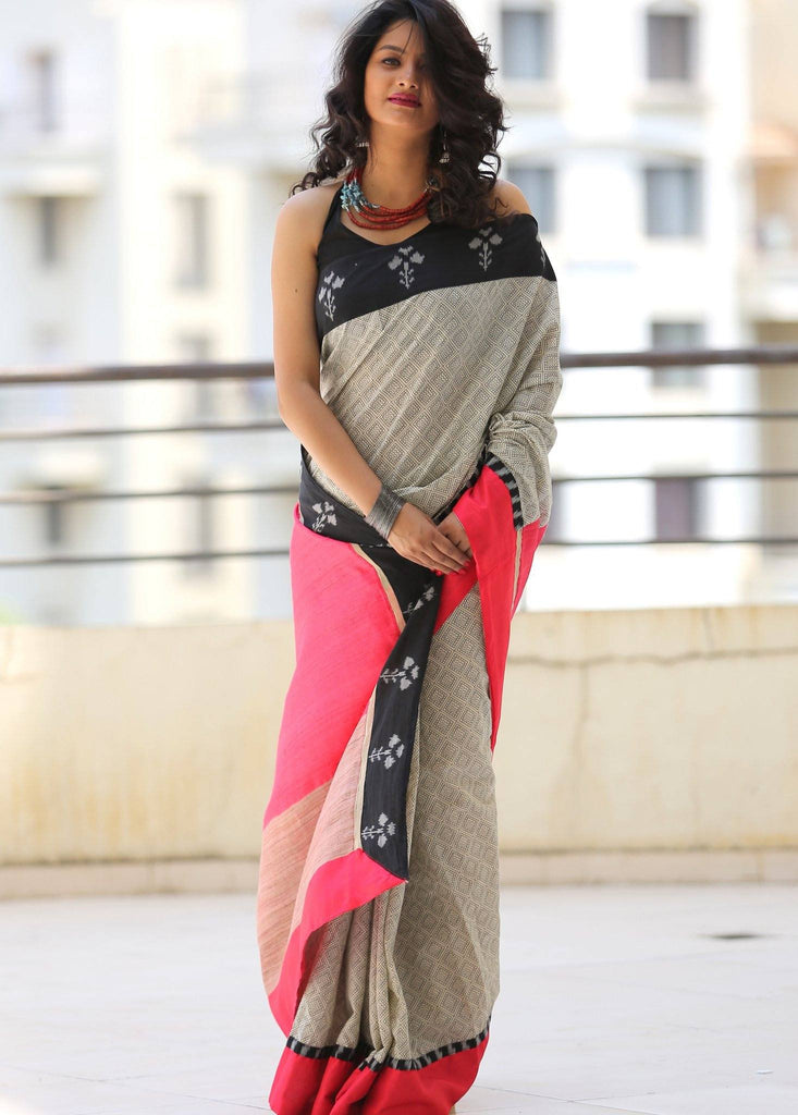 Printed cotton saree with unique ikat border and pink ghicha silk pallu - Sujatra