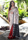 Saree - Printed Cotton Saree With Zari Border & Maroon Cotton Silk Pleats