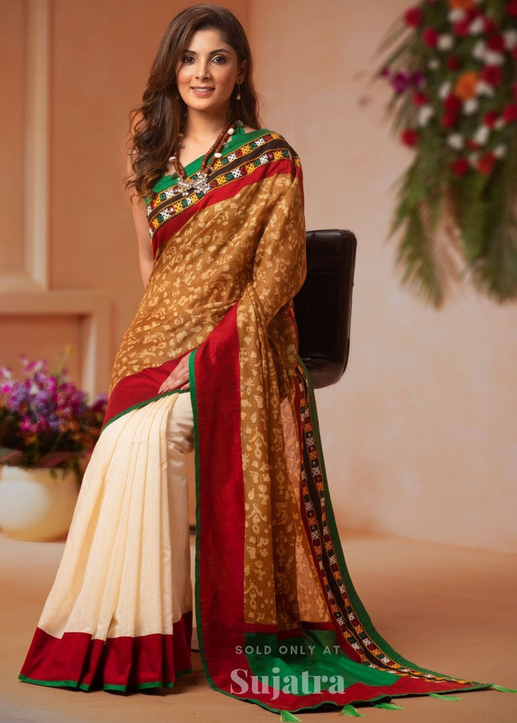 Saree - Printed Cotton Silk Saree With Beige Chanderi Pleats & Kutchi Mirror Work Combination