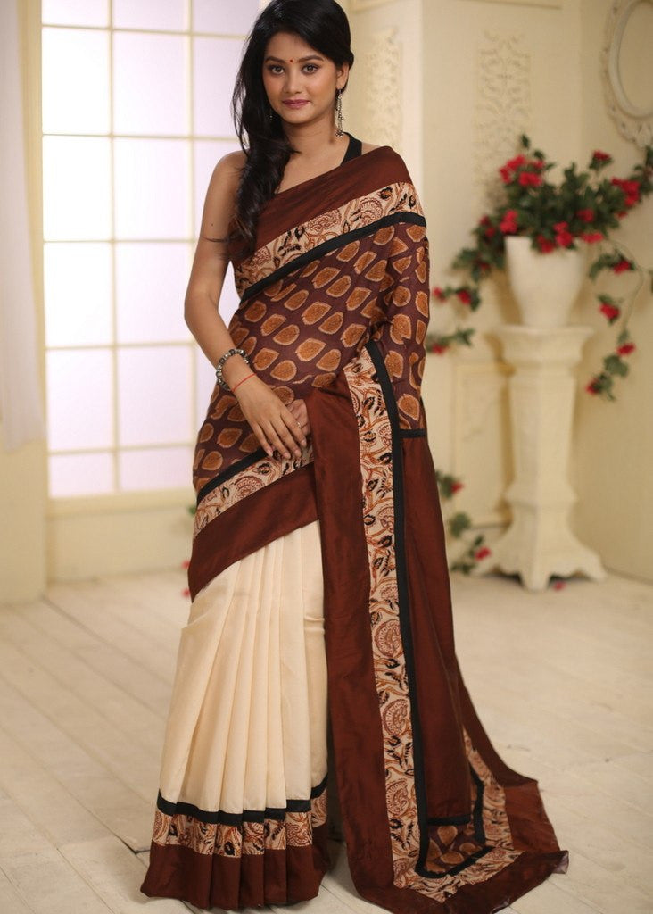 Saree - Printed Cotton With Beige Satin Silk Pleats And Cotton Silk Pallu