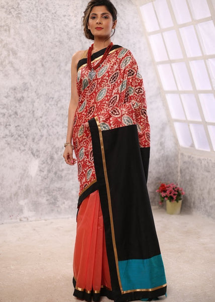 Saree - Printed Cotton With Peach Chanderi Combination & Black Cotton Silk Pallu Saree