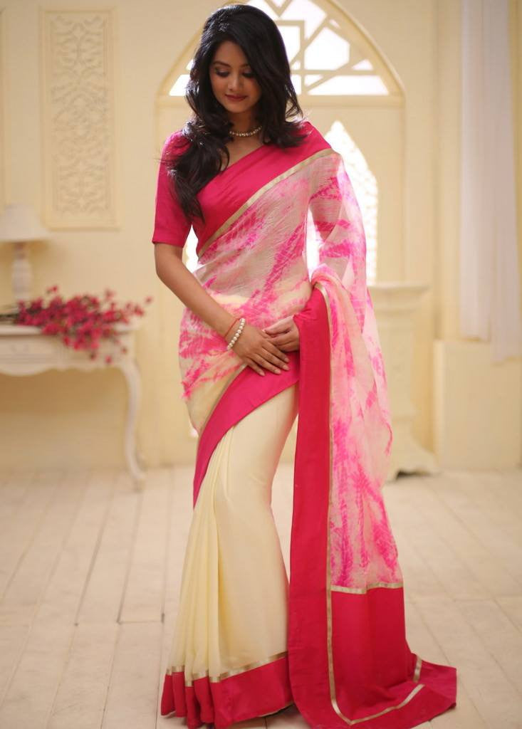 Saree - Printed Pure Silk Kota With Beige Shiffon Pleats