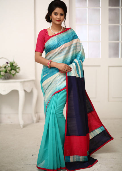 Saree - Printed Pure Silk With Seagreen Chanderi & Blue Cotton Silk Pallu Saree