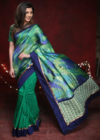 Printed pure tasar silk saree with green cotton silk pleats & zari border