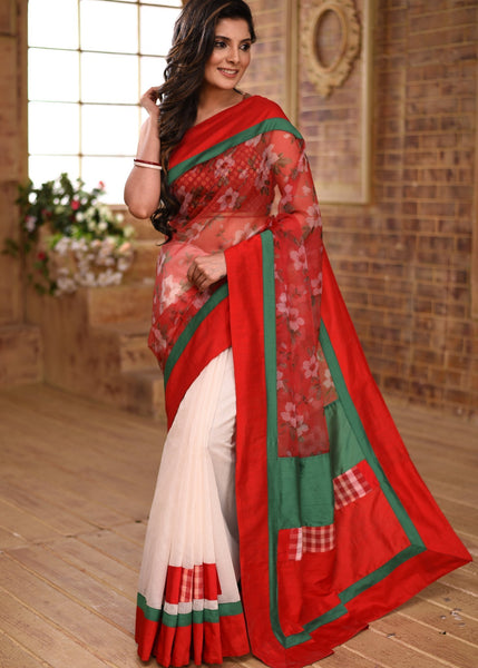 Saree - Printed Red Organza & Off White Chanderi Combination Saree